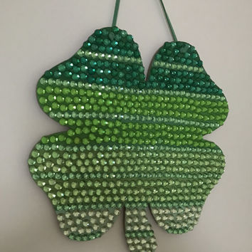 Wooden Four Leaf Clover with Rhinestones