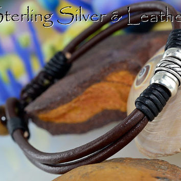 B-105 Aussie Made Sterling Silver Leather Tigers Eye Bangle Wristband Bracelet