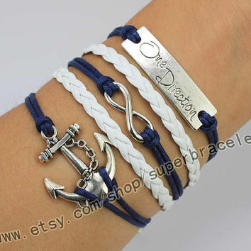 The Anchor, infinity, one direction bracelet, express Personalized Jewelry, the gift of friendship, bridesmaid gift