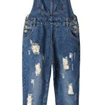 AvaCostume Womens' Adjustable Strap Ripped Denim Overalls