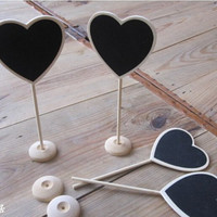 Mini Chalkboard blackboards on stick stand place holder brand heart shaped new wedding aparty decorations