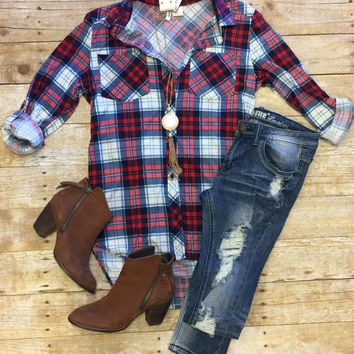 What I like about you Plaid Flannel Top: Red & Blue
