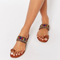 Glamorous Embellished Toe Loop Sandals at asos.com