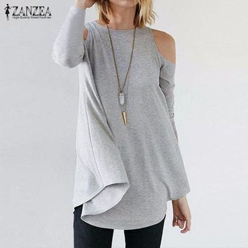 PEAP78W ZANZEA Women Tops 2017 Autumn Blusas Ladies Sexy Tunic Off Shoulder Long Sleeve Pullover Casual Loose Blouses Shirts Plus Size