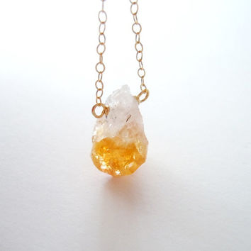 Raw Citrine Necklace - Gold Filled Chain - November Birthstone