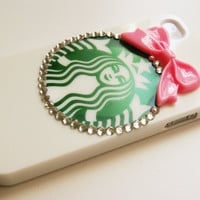 Starbucks Inspired Hard Iphone 4 4s with Pink Bowtie Cell Phone Case