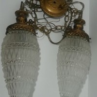 L&L WMC Double Swag Light Glass Pine Cone Pendant Brass Accent Hollywood Regency