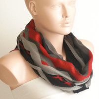 NEW SPRING Grey, red, black color  Cotton Mixcolor Spring Scarf, Zigzag Scarf, Tribal Scarf