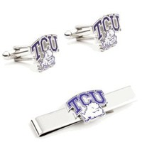 TCU Horned Frog Cufflinks and Tie Bar Gift Set-CLI-PD-TCU-CT