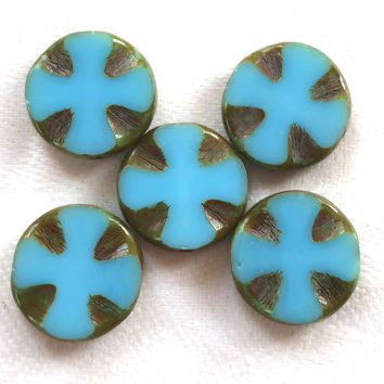 Five 14mm opaque turquoise ot aqua blue picasso, Czech glass, table-cut, carved, disc or coin beads, Celtic, Iron cross C5701