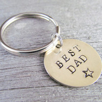 Hand Stamped Key Chain With Brushed BRASS Charm Tag Best DAD Custom Made Personalized