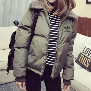 DCCKVQ8 Adidas' Women Fashion Zip Cardigan Long Sleeve Thickened Cotton-padded Clothes Jacket Coat