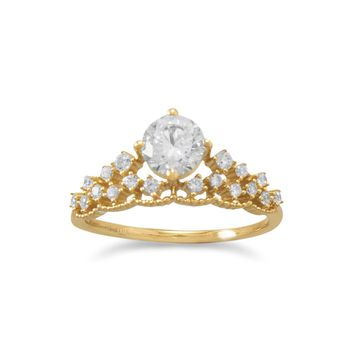 18 Karat Gold Plated CZ Tiara Ring