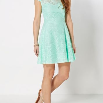 Mint Geo Crochet Skater Dress | Skater Dresses | rue21