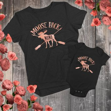 Mommy and Me - Mama Moose and Baby Moose Matching Outfits