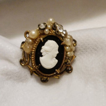 Vintage Brass, Pearl, Tiny Rhinestones, Center, Victorian Style Cameo, Prong Set, Open Work Brooch or Pin, Metal Edge Filigree, Early 1900's