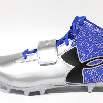 Under Armour Men's C1N Mid MC Blue/Silver Football Cleats 1270237-401
