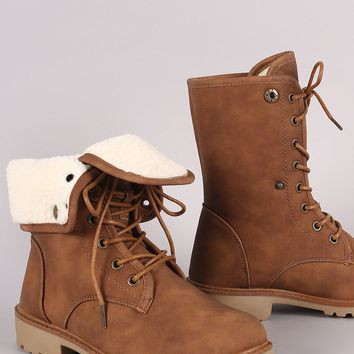 Faux Shearling Fold-Over Combat Lace-Up Boots