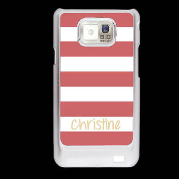 Personalized Samsung Galaxy S2 case - Nautical coral stripes Beach stripes - monogram Samsung Galaxy S2 cover plastic
