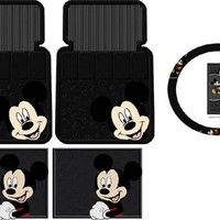Mickey Mouse Face 5pc Combo Front Rear Car Floor Mats Steering Wheel Cover