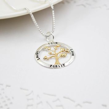 ZIRIS Hot Sale Women Necklace Pendant Heart Leaves Tree Of Life Message Family & Live & Love & Laugh for Christmas Gift