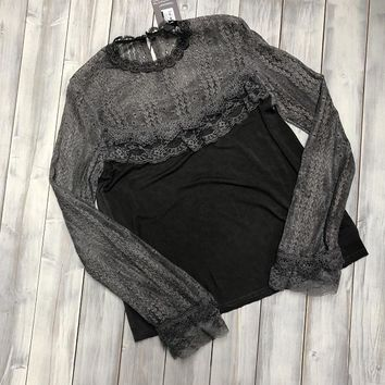 Ruffle Sleeve Top - Grey - size small - FINAL SALE. MO RETURNS. NO EXCHANGES.