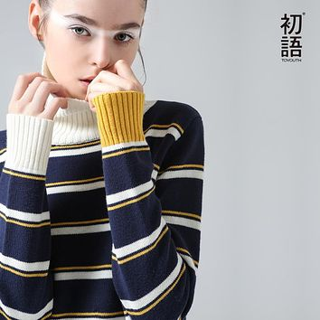 Toyouth Sweater Winter New Fashion Stripe Women Long Sleeve Slim Casual Turtleneck Pullovers Sweaters