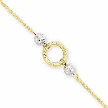 14K Two-tone Gold Circle Bead 9 Anklet