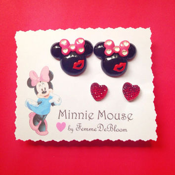 "Minnie Mouse ""Love & Kiss"" earrings and red heart studs disney jewelry"
