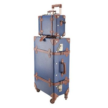 "CO-Z Premium Vintage Luggage Sets 24"" Trolley Suitcase and 12"" Hand Bag Set with TSA Locks"