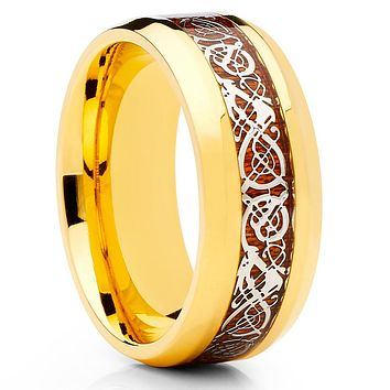 Titanium Wedding Band - Dragon Ring - Yellow Gold - Titanium Wedding Ring
