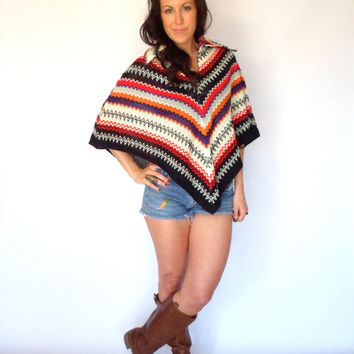 Zig Zag Chevron Knit Poncho Hippie Ethnic Inspired