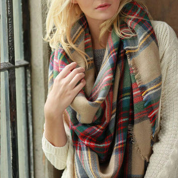 Cozy Autumn And Winter Lady Women Blanket Oversized Tartan Scarf Wrap Shawl lady girls Plaid Cozy warm Checked Pashmina (Color Multicolor)