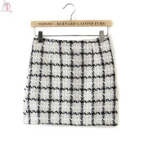 White Plaid Tweed Mini Pencil Skirt Bodycon Tight Fall Winter Vintage Casual 2017 Women New Fashion
