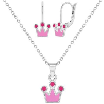 925 Sterling Silver Princess Crown Jewelry Set Necklace Earrings for Girls 16""
