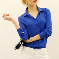 Blue Long Sleeve Chiffon Blouse
