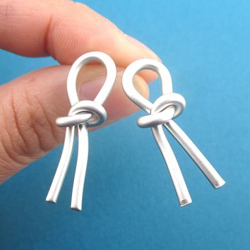 Large Statement Tied Love Forget Me Knot Stud Earrings in Gold or Silver
