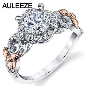 14K Two Tone Gold Engagement Ring Floral Halo 1 Carat Round Cut Moissanites Lab Grown Diamond Ring Unique 585 Gold Diamond Ring