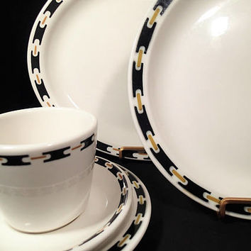 Buffalo China Black Anvil Restaurant Ware Diner or Cafe Black, Gold and white. Vintage 1970's Mid Century Dinnerware 5 piece place settings