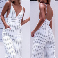 harness stripe backless jumpsuits