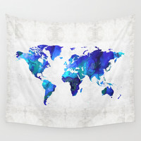 World Map 17 - Blue Art By Sharon Cummings Wall Tapestry by Sharon Cummings