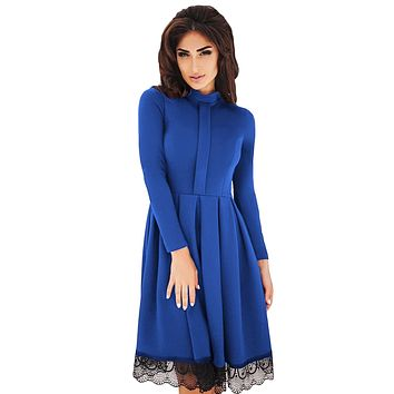 Chicloth Lace Hemline Detail Royal Blue Long Sleeve Skater Dress
