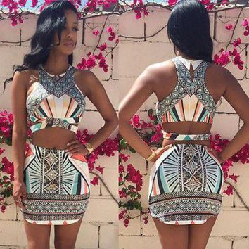 DCCKIHN Summer Ladies Womens Two Piece Crop Top and Set Sexy Bandage Bodycon Dress 2016 fashion new style