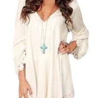 White V-Neck Long Sleeve Lace Trim Loose Mini Dress