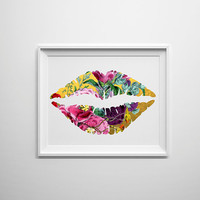 Gold lips with floral overlay, cute and girly floral art for home studio or office decor.