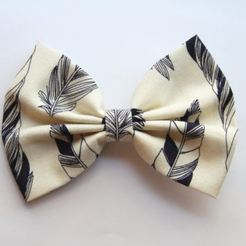 NEW - Heather Hair Bow - Cream and Black Feather Print Hair Bow with Clip