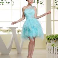 New Arrival  Coctail Dress Organza Above Knee, Mini Custom Made Crystal Short Blue Cocktail Dresses 2016