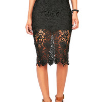 Shadow Lace Pencil Skirt | Trendy Skirts at Pink Ice