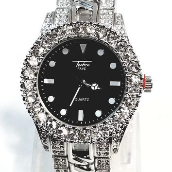 Techno Pave Silver Finish Iced Out Large Lab Diamonds On Case Iced Round Black Face Mens Watch Metal Iced Band 8653 …