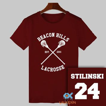 2017 Summer Teen Wolf T-shirt Stiles Stilinski 24 Tshirt BEACON HILLS LACROSSE Tops Tee Shirts TeenWolf Funny T Shirt Women Men
